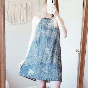 ANTHRO FLOREAT Floral Embroidered Halter Dress 2